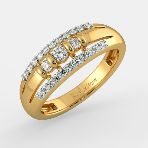 Buy 550 Latest Diamond Studded Yellow Gold Ring Designs Online in
