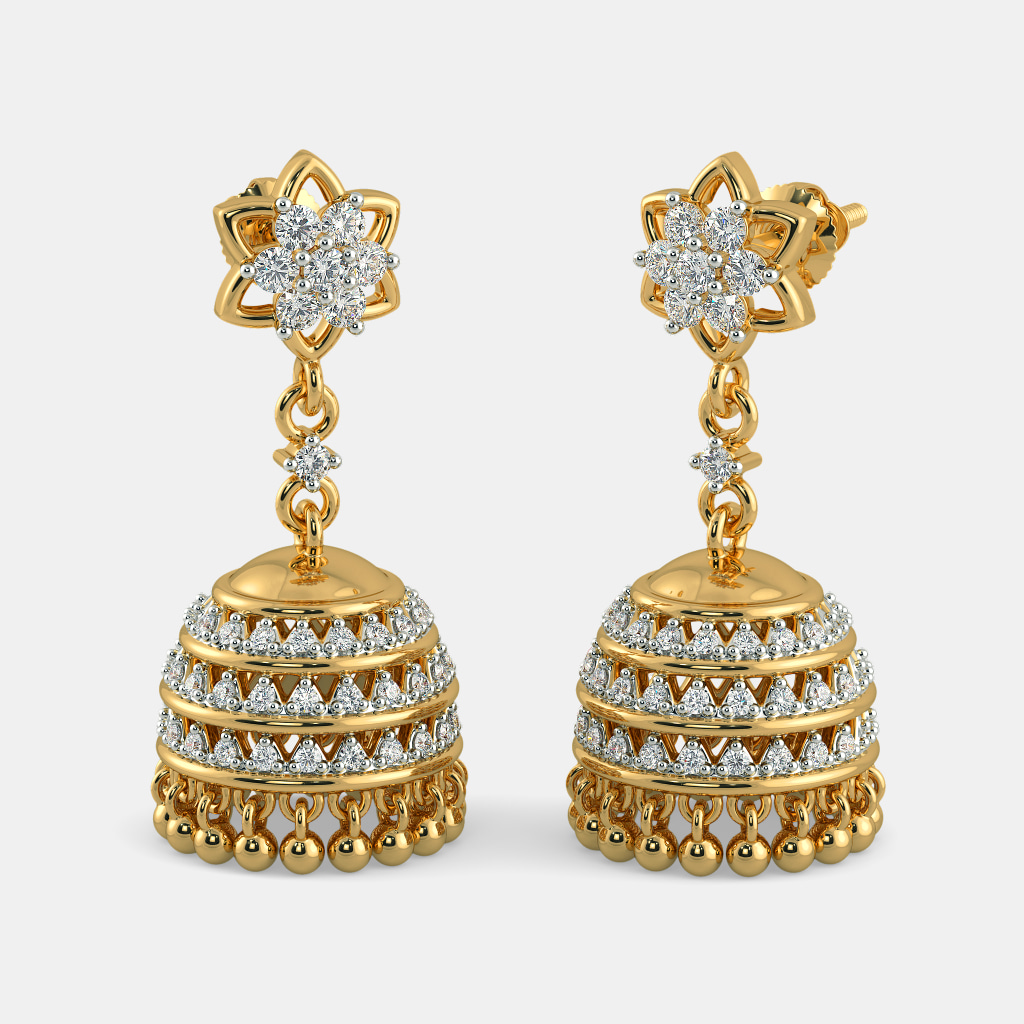 india kalyan diamond womens jewellery debina jhumka earrings com shopping online candere a company yellow jewellers gold