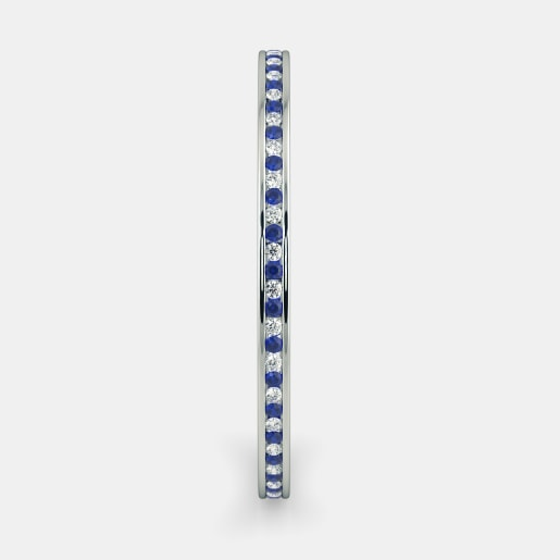 Diamond And Blue Sapphire Bangle In White Gold (18.3 Gram) With Diamonds (2.691 Ct)