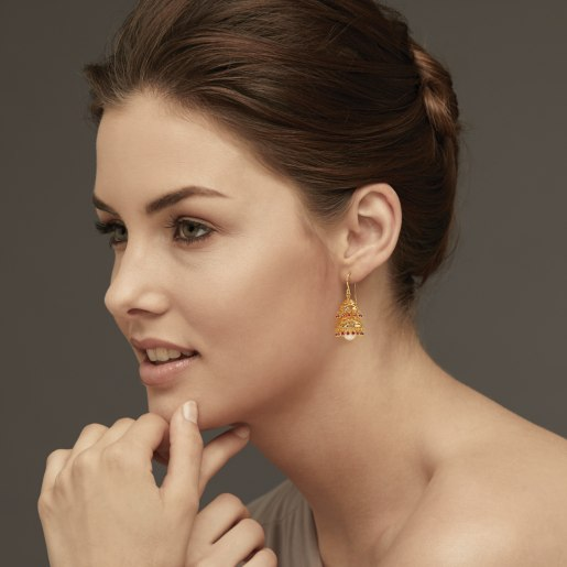 Ruby And White Pearl Earring In Yellow Gold (17.29 Gram)