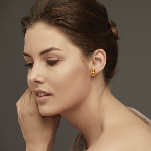 Diamond And Ruby Earring In Yellow Gold (8.4 Gram) With Diamonds (0.064 Ct)