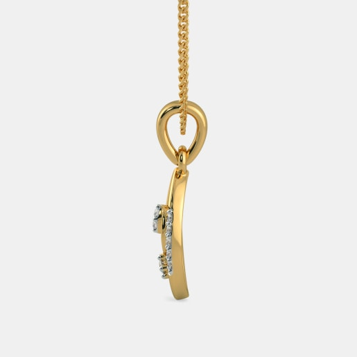 Diamond Pendant In Yellow Gold (0.77 Gram)