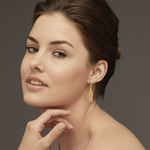 Diamond And Pink Tourmaline Earring In Yellow Gold (6.93 Gram) With Diamonds (0.160 Ct)