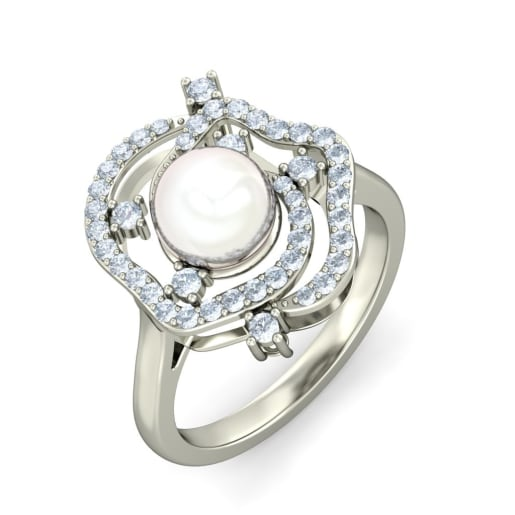 White Pearl And Diamond Ring In White Gold (5.382 Gram) With Diamonds (0.409 Ct)