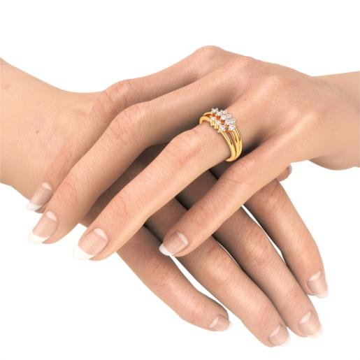Diamond Ring In Yellow Gold (3.91 Gram) With Diamonds (0.367 Ct)