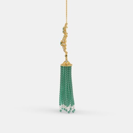 Diamond , Emerald And Tassel Necklace In Yellow Gold (12.2 Gram)