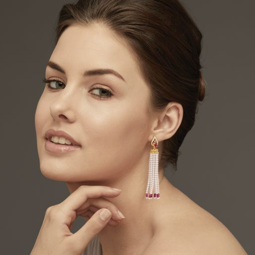 Diamond , Ruby And Tassel Earring In Yellow Gold (7.89 Gram)