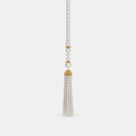 Diamond And White Pearl Necklace In Yellow Gold (4.69 Gram)